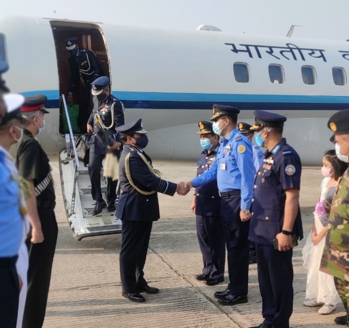 The Chief of the Air Staff, Air Chief Marshal R.K.S. Bhadauria being received by the Senior Officials of Bangladesh Air Force, on his arrival for an official goodwill visit to Bangladesh on February 22, 2021.