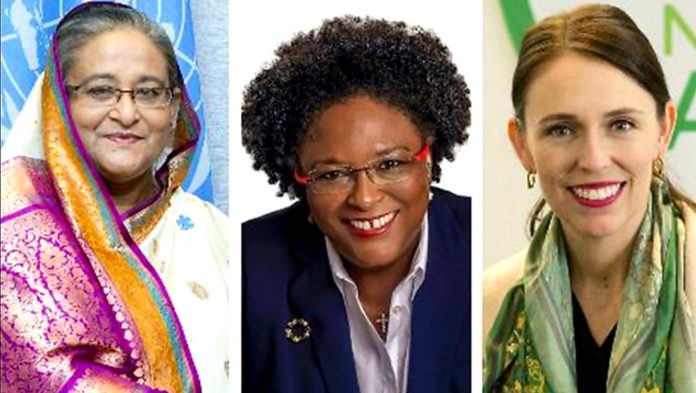 Picture:-From Left - Prime Minister Sheikh Hasina, New Zealand Prime Minister Jacinda Arden and Barbados Prime Minister Mia Amor Mottley Collected