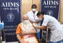 The Prime Minister, Shri Narendra Modi takes second dose of the COVID-19 vaccine, at AIIMS, New Delhi on April 08, 2021.
