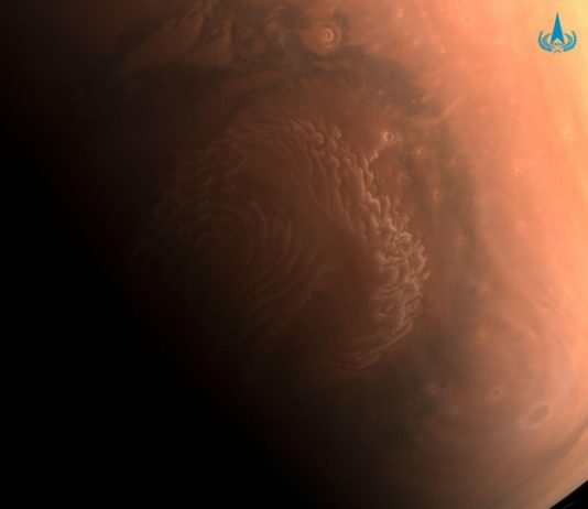 The surface of Mars, photographed by China's Tianwen-1 probe after it arrived in orbit in February.Credit: CNSA/Xinhua/Alamy