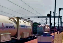 Oxygen Express Train carrying Liquid Medical Oxygen in 20 feet containers on the way to Okhla from Tatanagar