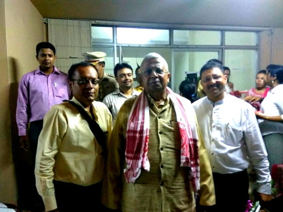Left to Right : Suman Munshi With HE Tathagata Roy Governor Tripura and Mr. Chakraborty Head Assam House