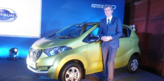 Jerome Saigot, VP, Datsun India, beside Datsun Redi Go
