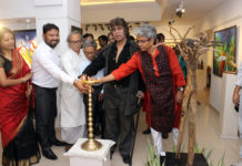 L-R India Green Business Developer Amitava Smanta, Painter Niranjan Pradhan,Art Critic Mrinal Ghosh, Painter Wasim Kapoor, Painter Sushanta Paul at the inaugration of Prakriti Spriha