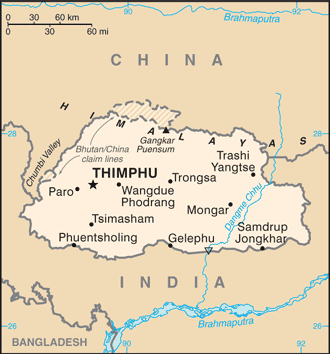 Bhutan - Map not to scale