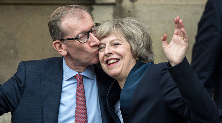 Good, with a Royal Kiss from her Husband – Theresa May staring her Day in 10 Downing street