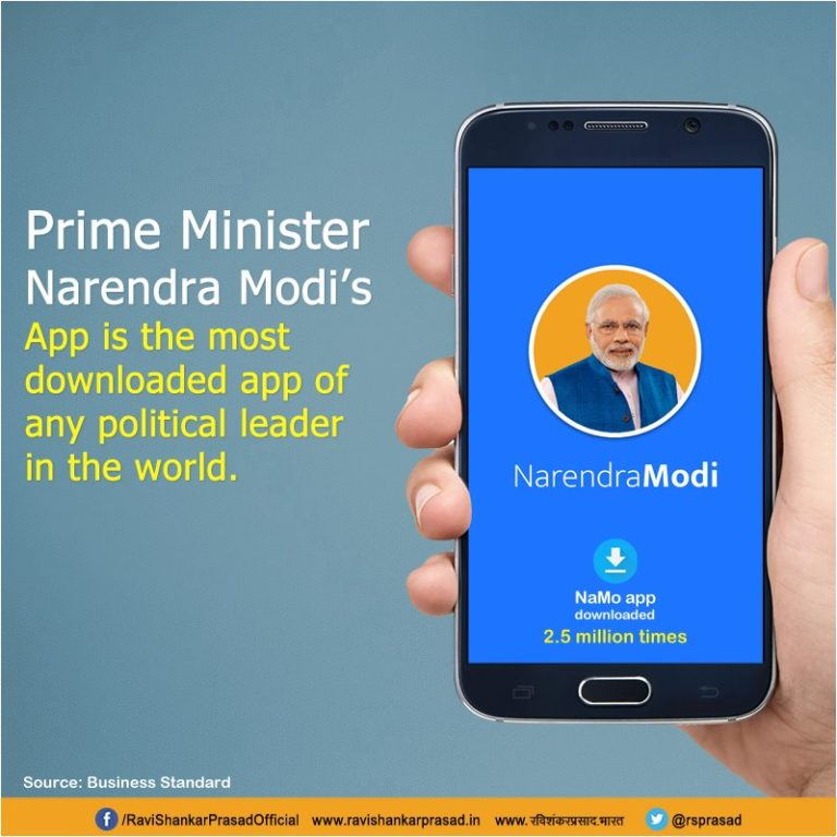 Modi Shines on Social Net – NaMo Apps is the most downloaded App in the World for Any Political Leader's App
