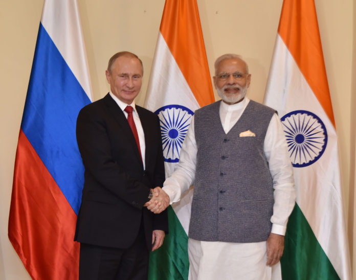 Prime Minister, Mr. Narendra Modi with the President of the Russian Federation, Mr. Vladimir Putin