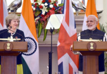 The Prime Minister, Shri Narendra Modi with the Prime Minister of United Kingdom, Ms. Theresa May