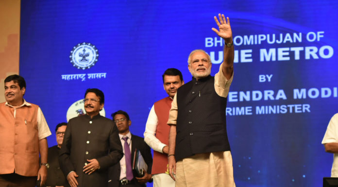 The Prime Minister, Shri Narendra Modi at the foundation stone laying ceremony of the Pune Metro Project (Phase 1), in Pune on December 24, 2016. The Governor of Maharashtra, Shri C. Vidyasagar Rao, the Union Minister for Road Transport & Highways and Shipping, Shri Nitin Gadkari and the Chief Minister of Maharashtra, Shri Devendra Fadnavis are also seen.