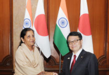The Minister of Economy, Trade and Industry, Japan, Mr. Hiroshige Seko meeting the Minister of State for Commerce & Industry (Independent Charge), Smt. Nirmala Sitharaman, in New Delhi on January 09, 2017.
