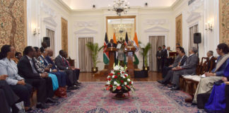 The Prime Minister, Shri Narendra Modi with the President of Kenya, Mr. Uhuru Kenyatta at the joint media briefing, at Hyderabad House, in New Delhi on January 11, 2017.