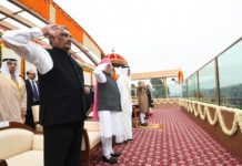 The President, Shri Pranab Mukherjee and the Prime Minister, Shri Narendra Modi with the Chief Guest of the Republic Day, The Crown Prince of Abu Dhabi, Deputy Supreme Commander of U.A.E. Armed Forces, General Sheikh Mohammed Bin Zayed Al Nahyan, at Rajpath, on the occasion of the 68th Republic Day Parade 2017, in New Delhi on January 26, 2017. The Union Minister for Defence, Shri Manohar Parrikar is also seen.
