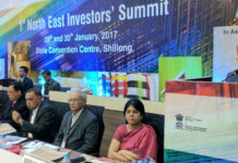 The Minister of State for Development of North Eastern Region (I/C), Prime Minister's Office, Personnel, Public Grievances & Pensions, Atomic Energy and Space, Dr. Jitendra Singh addressing at the First North East Investors' Summit, at Shillong on January 29, 2017. The Union Minister for Textiles, Smt. Smriti Irani and other dignitaries are also seen.
