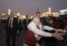 The Prime Minister, Shri Narendra Modi interacting with the people, at the 'Beating Retreat' ceremony, at Vijay Chowk, in New Delhi on January 29, 2017.