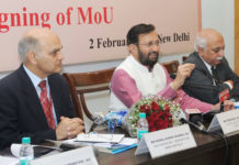 The Union Minister for Human Resource Development, Shri Prakash Javadekar addressing the signing ceremony of the MoU on TEQIP, in New Delhi on February 02, 2017. The Secretary, Department of Higher Education, Shri V.S. Oberoi is also seen.