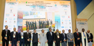 The Union Minister for Science & Technology and Earth Sciences, Dr. Harsh Vardhan in a group photograph at the inauguration of the International Conference on NexGen Technologies for Mining and Fuel Industries - NxGnMiFu - 2017, organised by CSIR-Central Institute of Mining & Fuel Research (CSIR-CIMFR), in New Delhi on February 15, 2017. The Member, NITI Aayog, Dr. V.K. Saraswat and the DG, CSIR, Dr. Shri Girish Sahni are also seen.