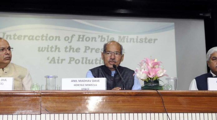 The Minister of State for Environment, Forest and Climate Change (Independent Charge), Shri Anil Madhav Dave holding a press conference on air pollution, in New Delhi on February 21, 2017. The Secretary, Ministry of Environment, Forest and Climate Change, Shri Ajay Narayan Jha and the Special Secretary, Ministry of Environment, Forest and Climate Change, Shri R.R. Rashmi are also seen.