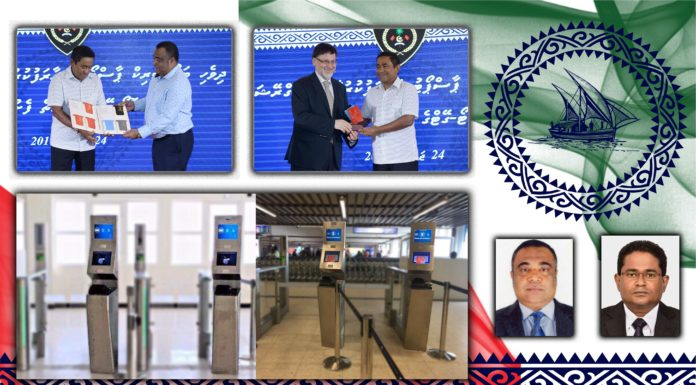 """Maldives Immigration Controller General, Mr. Mohamed Anwar (left small picture) and Deputy Controller Abdulla Algeen (small picture on the right) have received the IAIR award for the """"Most innovative high security ePassports and eGates"""". The Maldives President, HE Abdulla Yameen had opened the system in 2016 (above left two pictures).The below two large images show the eGates."""