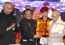 "The President, Shri Pranab Mukherjee being felicitated at the closing ceremony of an International Conference on ""Buddhism in the 21st Century - perspectives and responses to Global Challenges and Crises"", at Rajgir, Nalanda, in Bihar on March 19, 2017. The Governor of Bihar, Shri Ram Nath Kovind is also seen."
