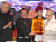 """The President, Shri Pranab Mukherjee being felicitated at the closing ceremony of an International Conference on """"Buddhism in the 21st Century - perspectives and responses to Global Challenges and Crises"""", at Rajgir, Nalanda, in Bihar on March 19, 2017. The Governor of Bihar, Shri Ram Nath Kovind is also seen."""