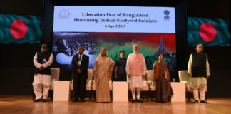 The Prime Minister, Shri Narendra Modi with the Prime Minister of Bangladesh, Ms. Sheikh Hasina at Sommanona Ceremony to salute Indian Soldiers who fought in 1971 war, in New Delhi on April 08, 2017. The Union Minister for Finance, Corporate Affairs and Defence, Shri Arun Jaitley, the Union Minister for External Affairs, Smt. Sushma Swaraj and other dignitaries are also seen.