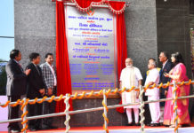 The Prime Minister, Shri Narendra Modi inaugurated the Kiran Multispeciality Hospital, in Surat, Gujarat on April 17, 2017. The Deputy Chief Minister of Gujarat, Shri Nitinbhai Patel and other dignitaries are also seen.