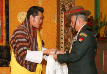 The Chief of Army Staff, General Bipin Rawat with the King of Bhutan, His Majesty Jigme Khesar Namgyel Wangchuck, at Tashi Chhodzong Palace, Thimpu on April 28, 2017.