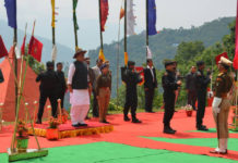 The Union Home Minister, Shri Rajnath Singh taking salute, during his visit to the 36th Batallion Gayzing, in Western District of Sikkim on May 21, 2017.