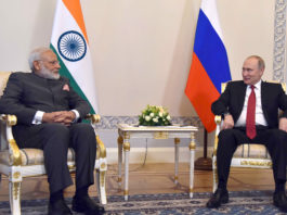 The Prime Minister, Shri Narendra Modi meeting the President of Russian Federation, Mr. Vladimir Putin, at Konstantin Palace, in St. Petersburg, Russia on June 01, 2017.