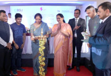 The Minister of State for Commerce & Industry (Independent Charge), Smt. Nirmala Sitharaman lighting the lamp at the foundation stone laying ceremony of the Indian Institute of Gem and Jewellery (IIGJ), Udupi, Karnataka on June 16, 2017.