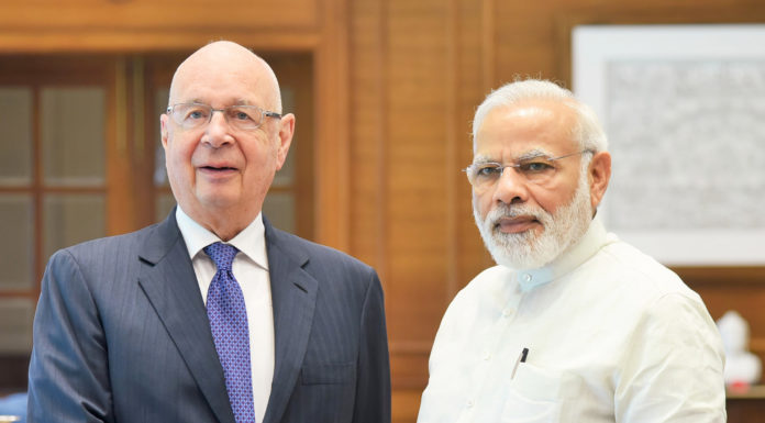 The Founder and Executive Chairman of the World Economic Forum, Professor Klaus Schwab calls on the Prime Minister, Shri Narendra Modi, in New Delhi on June 22, 2017.