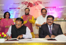 The Union Minister for Science & Technology, Earth Sciences and Environment, Forest & Climate Change, Dr. Harsh Vardhan and the Union Minister for Human Resource Development, Shri Prakash Javadekar witnessing the signing of an MoU between Council of Scientific and Industrial Research (CSIR) and Kendriya Vidyalaya Sangathan (KVS) for a Student-Scientist Connect Programme, named JIGYASA, at a function, in New Delhi on July 06, 2017.