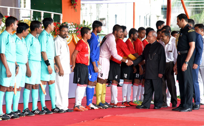 The President, Shri Pranab Mukherjee being introduced to the players of football teams at the inauguration of the 7th edition of KKM Memorial Gold Cup-Rural Football Tournament 2017, at Mackenzie Park Football Ground, Murshidabad, in West Bengal on July 14, 2017.