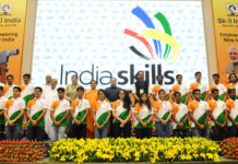 The Union Ministers, Sushri Uma Bharti, Shri J.P. Nadda, Smt. Smriti Irani and Shri Rajiv Pratap Rudy at the 2nd Anniversary Celebrations of the Skill Indian Mission, on the occasion of the World Youth Skill Day, in New Delhi on July 15, 2017.