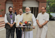 The Prime Minister, Shri Narendra Modi interacting with the media at the start of Monsoon Session of Parliament, in New Delhi on July 17, 2017. The Union Minister for Chemicals & Fertilizers and Parliamentary Affairs, Shri Ananth Kumar, the Minister of State for Development of North Eastern Region (I/C), Prime Minister's Office, Personnel, Public Grievances & Pensions, Atomic Energy and Space, Dr. Jitendra Singh and the Minister of State for Minority Affairs (Independent Charge) and Parliamentary Affairs, Shri Mukhtar Abbas Naqvi are also seen.
