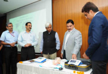 The Minister of State for Science & Technology and Earth Sciences, Shri Y.S. Chowdary launching the 'Sohum'- A Newborn Hearing Screening Device developed by School of International Biodesign, under Deptt of Biotechnology, in New Delhi on July 17, 2017. The Secretary, Department of Biotechnology, Prof. K. Vijay Raghavan and other dignitaries are also seen.