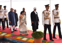 The President, Shri Pranab Mukherjee, the President-elect, Shri Ram Nath Kovind, the Vice President, Shri M. Hamid Ansari, the Speaker, Lok Sabha, Smt. Sumitra Mahajan and the Chief Justice of India, Shri Justice J.S. Khehar in a ceremonial procession at Parliament House for swearing-in ceremony of the President of India, in New Delhi on July 25, 2017.