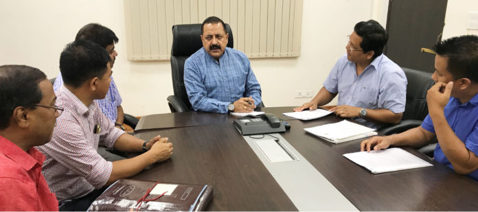A delegation from Meghalaya led by the Member of Parliament, Shri Conrad Sangma meeting the Minister of State for Development of North Eastern Region (I/C), Prime Minister's Office, Personnel, Public Grievances & Pensions, Atomic Energy and Space, Dr. Jitendra Singh, in New Delhi on July 28, 2017.