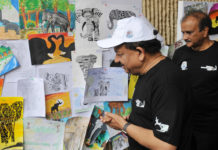 The Union Minister for Science & Technology, Earth Sciences and Environment, Forest & Climate Change, Dr. Harsh Vardhan visiting an exhibition, on the occasion of the World Elephant Day 2017, in New Delhi on August 12, 2017.
