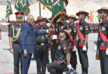 The President, Shri Ram Nath Kovind presented the President's Colours to all five Ladakh Scouts Battalions and Ladakh Scouts Regimental Centre, in Leh on August 21, 2017.