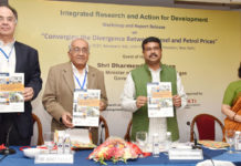 """The Minister of State for Petroleum and Natural Gas (Independent Charge), Shri Dharmendra Pradhan releasing the report on """"Converging the Divergence between Diesel and Petrol Prices"""" at a Workshop, in New Delhi on August 30, 2017."""