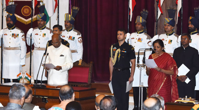 The President, Shri Ram Nath Kovind administering the oath as Cabinet Minister to Smt. Nirmala Sitharaman, at a Swearing-in Ceremony, at Rashtrapati Bhavan, in New Delhi on September 03, 2017.
