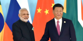 The Prime Minister, Shri Narendra Modi being welcomed by the President of the People's Republic of China, Mr. Xi Jinping, at the 9th BRICS summit, in Xiamen, China on September 04, 2017.