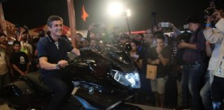 Mr. Dimitris Raptis with the new BMW K 1600 B (PRNewsfoto/BMW India)