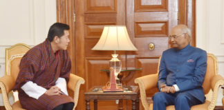 The King of Bhutan, His Majesty Jigme Khesar Namgyel Wangchuck calling on the President, Shri Ram Nath Kovind, at Rashtrapati Bhavan, in New Delhi on November 01, 2017.