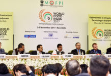 "The Union Minister for Road Transport & Highways, Shipping and Water Resources, River Development & Ganga Rejuvenation, Shri Nitin Gadkari at the World Food India 2017 Conference on the ""Opportunities in Infrastructure Technology & Equipment"", in New Delhi on November 04, 2017."