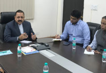 """The Minister of State for Development of North Eastern Region (I/C), Prime Minister's Office, Personnel, Public Grievances & Pensions, Atomic Energy and Space, Dr. Jitendra Singh chairing a meeting to review the status of India's first-ever """"Air Dispensary"""" service to be introduced in Northeast, in New Delhi on November 12, 2017."""