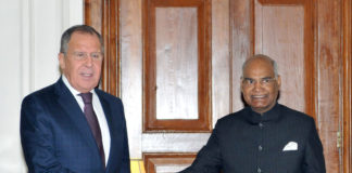 The Foreign Minister of the Russian Federation, Mr. Sergei Lavrov calling on the President, Shri Ram Nath Kovind, at Rashtrapati Bhavan, in New Delhi on December 11, 2017.