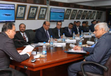 The Minister of State for Defence, Dr. Subhash Ramrao Bhamre interacting with senior Officers of IAF & C-DAC, during the launch of web portal for online examination of Officers and Airmen Selection, in in New Delhi on December 11, 2017.